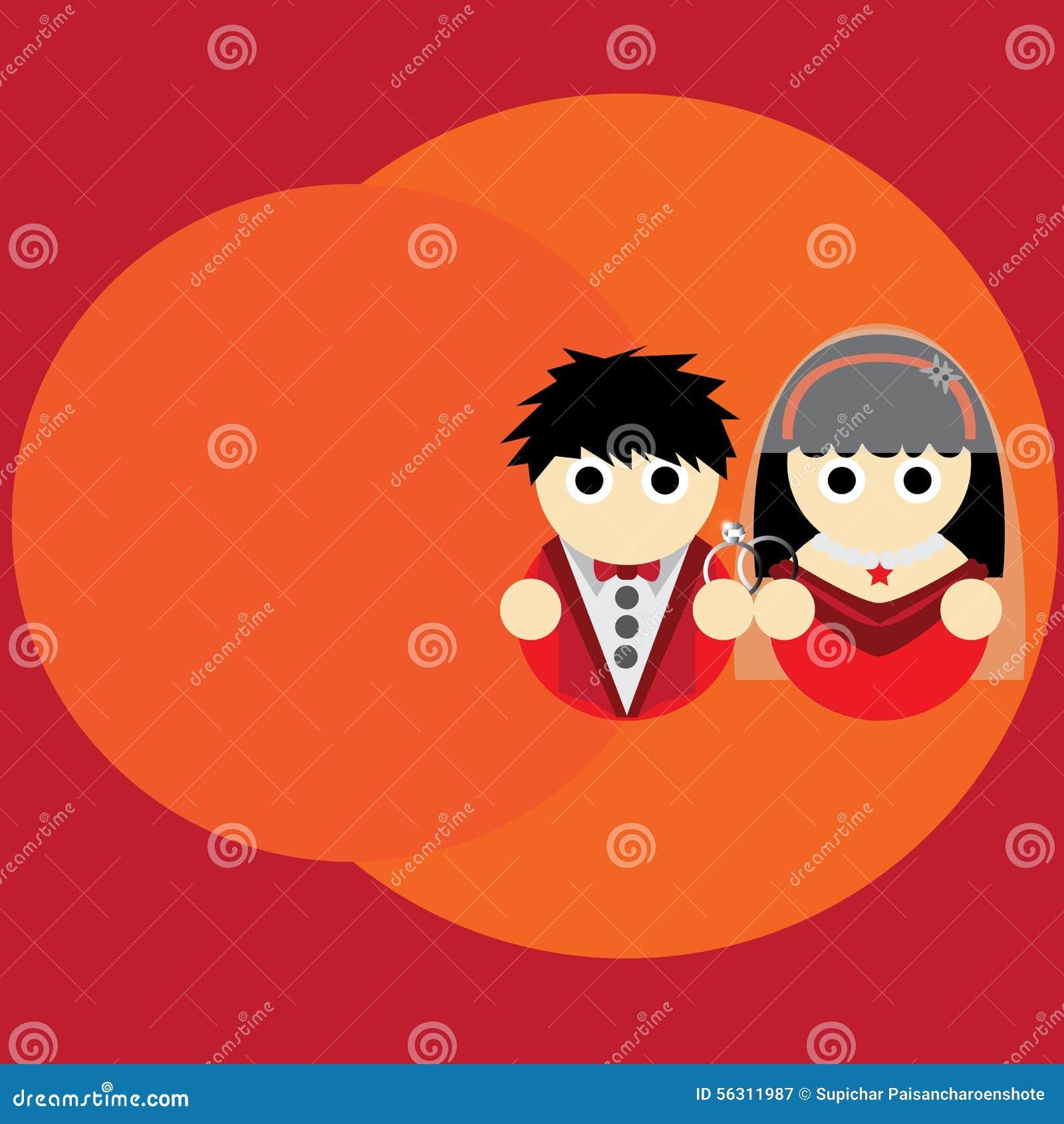 Wedding Cartoon Illustration Background Stock Vector