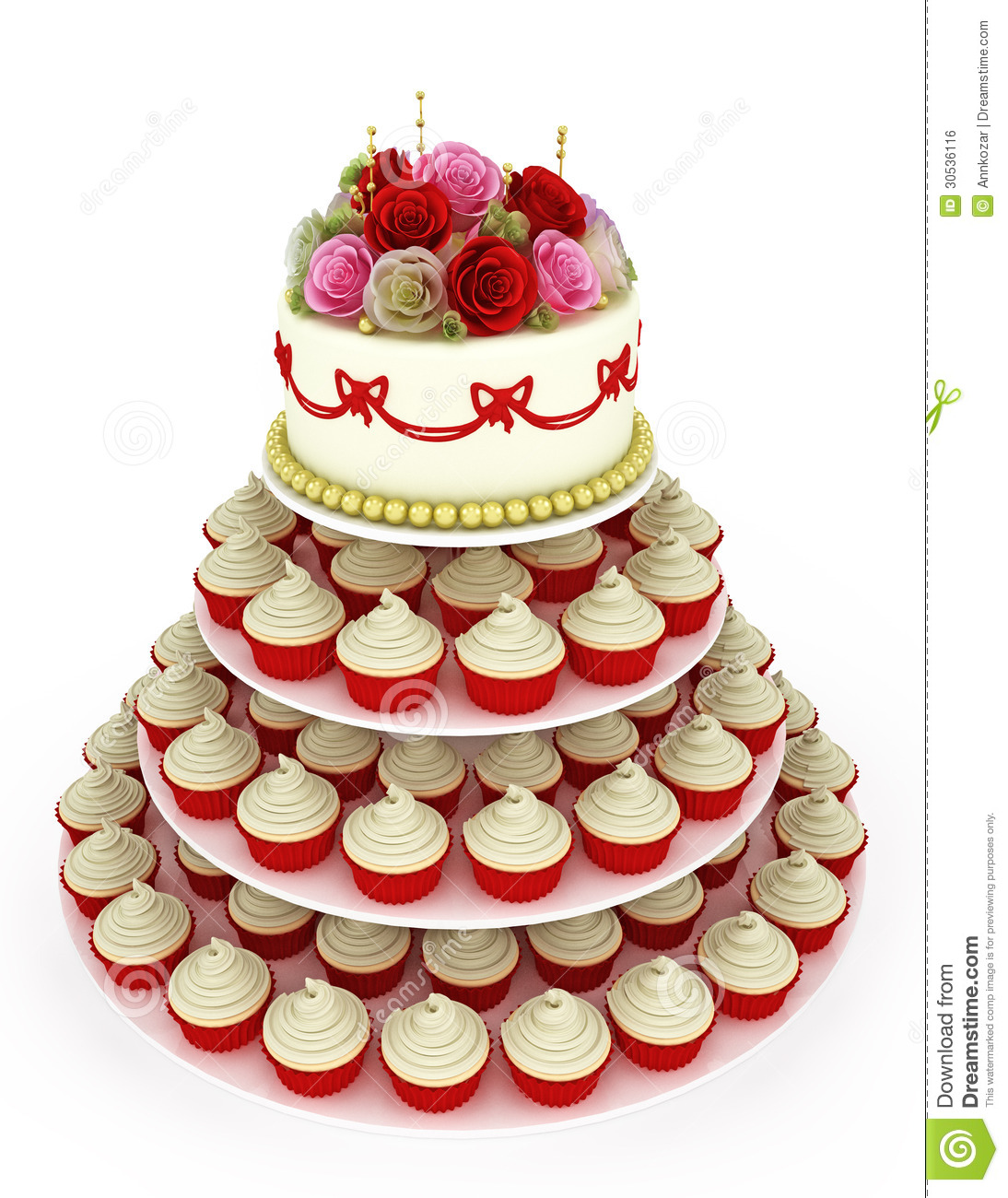 wedding celebration cake with cupcakes stock illustration