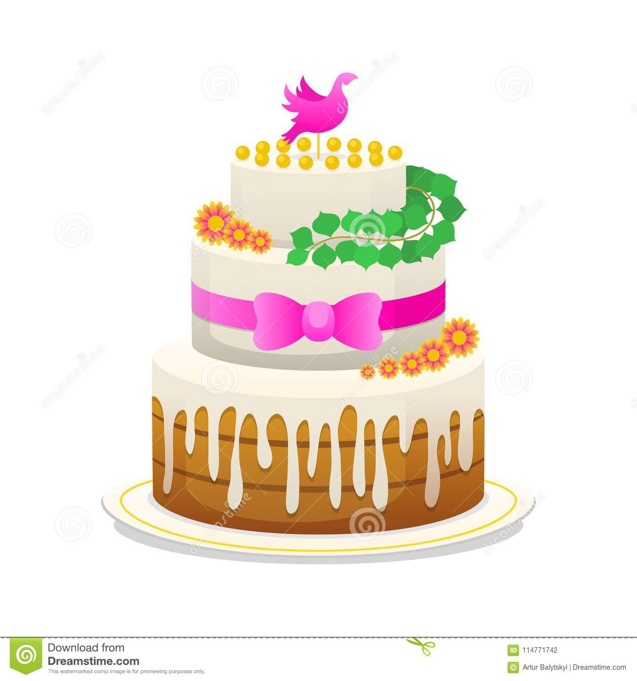 Wedding Celebratory Cake With Flowers Bow For The Groom And The