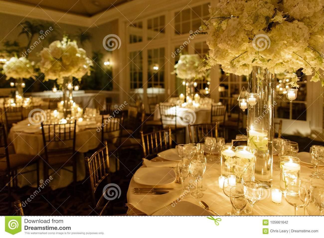 Wedding Centerpiece Table Set For Reception Stock Photo Image Of