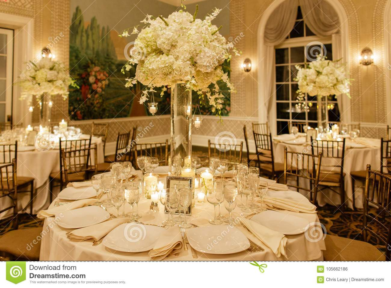Wedding Table Centerpieces.Wedding Centerpiece Table Set For Reception Stock Photo Image Of