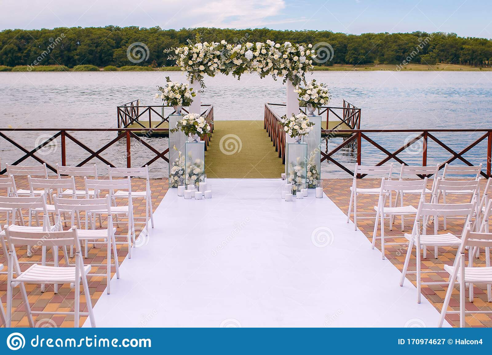 Wedding Ceremony Wedding Arch Wedding Arch Made Of Branches Flowers And Greenery Is On The Green Grass On The River Bank Stock Image Image Of Cotton Date 170974627