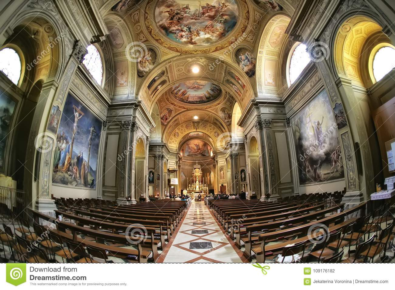 Wedding ceremony in the church in Rome