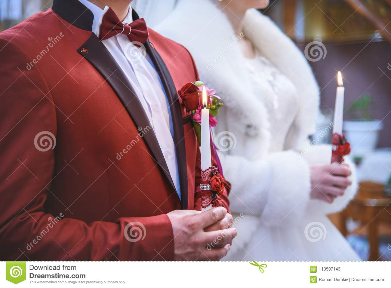 Wedding Ceremony In Church, Young Married Couple Holding The