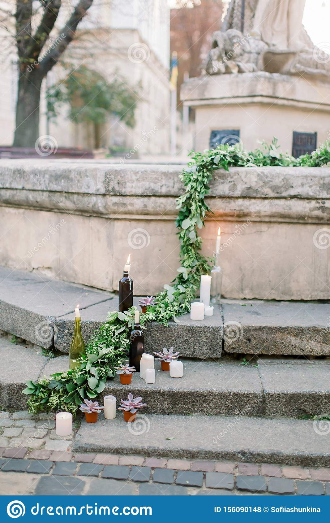 Wedding Ceremony Decor, Decorated Stone Stairs With White ...