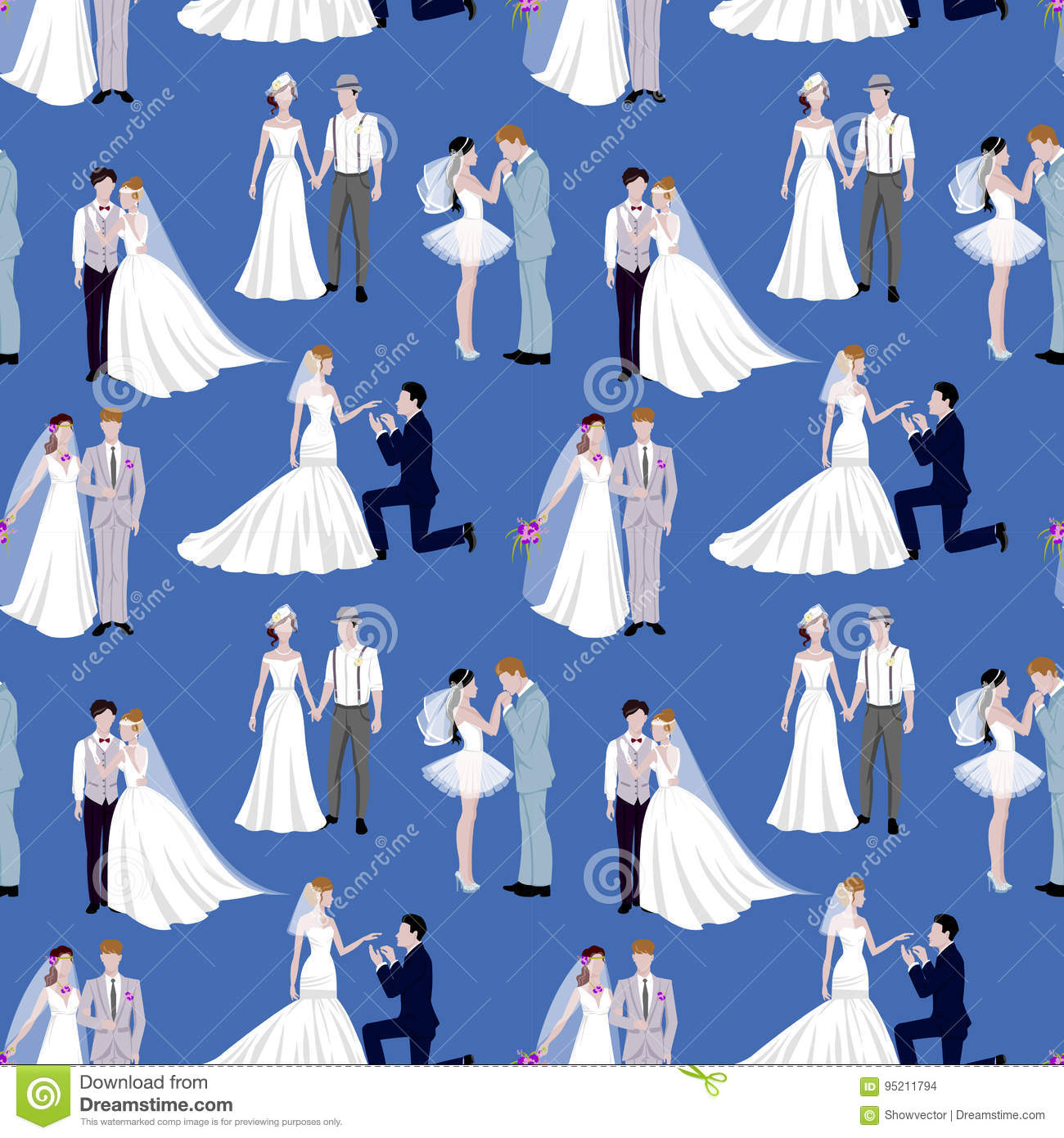 Wedding Ceremony Groom And Bride Couple People Silhouette Vector ...