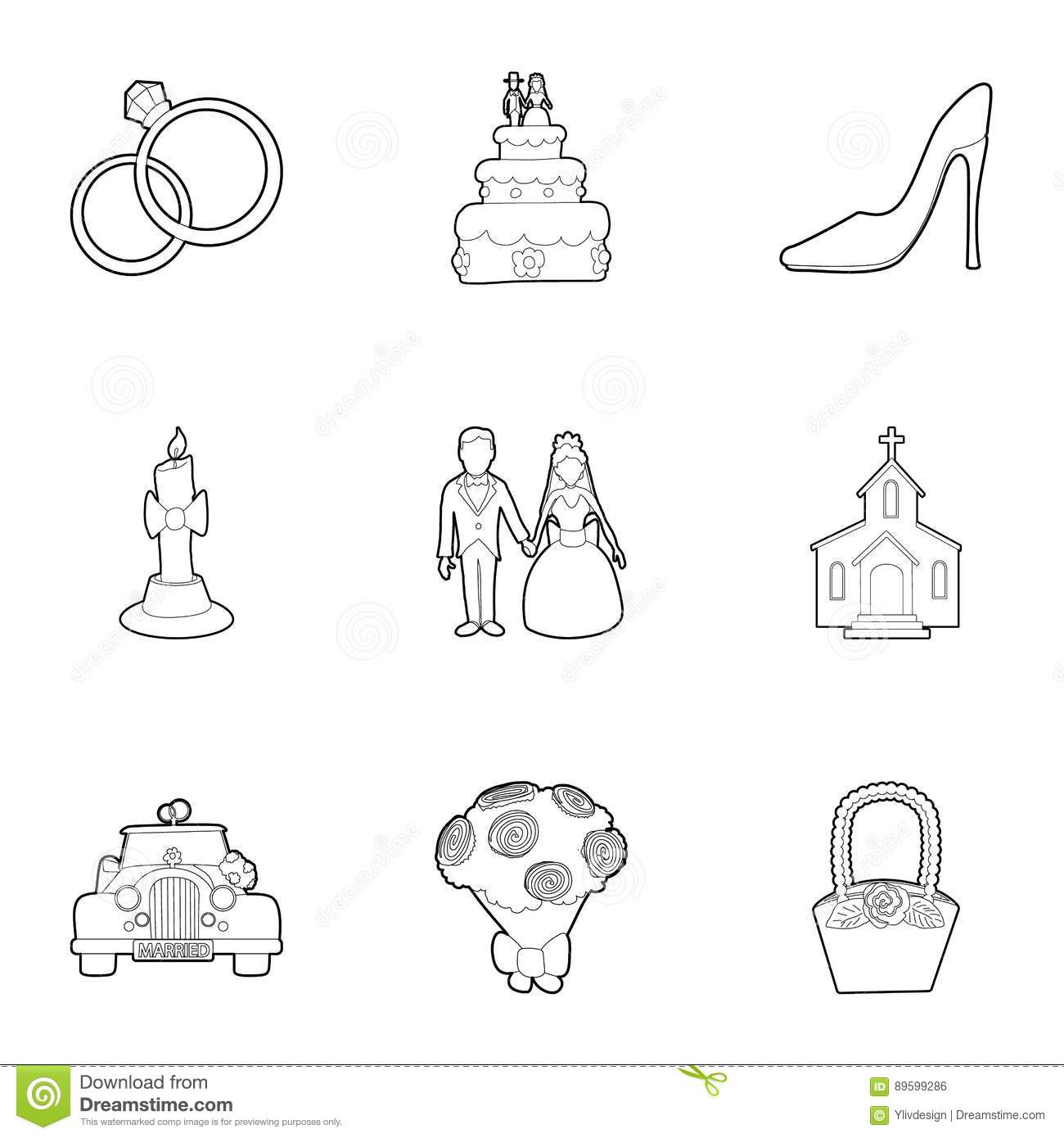 Wedding Ceremony Icons Set Outline Style Stock Vector Illustration Of Beautiful Fabric 89599286