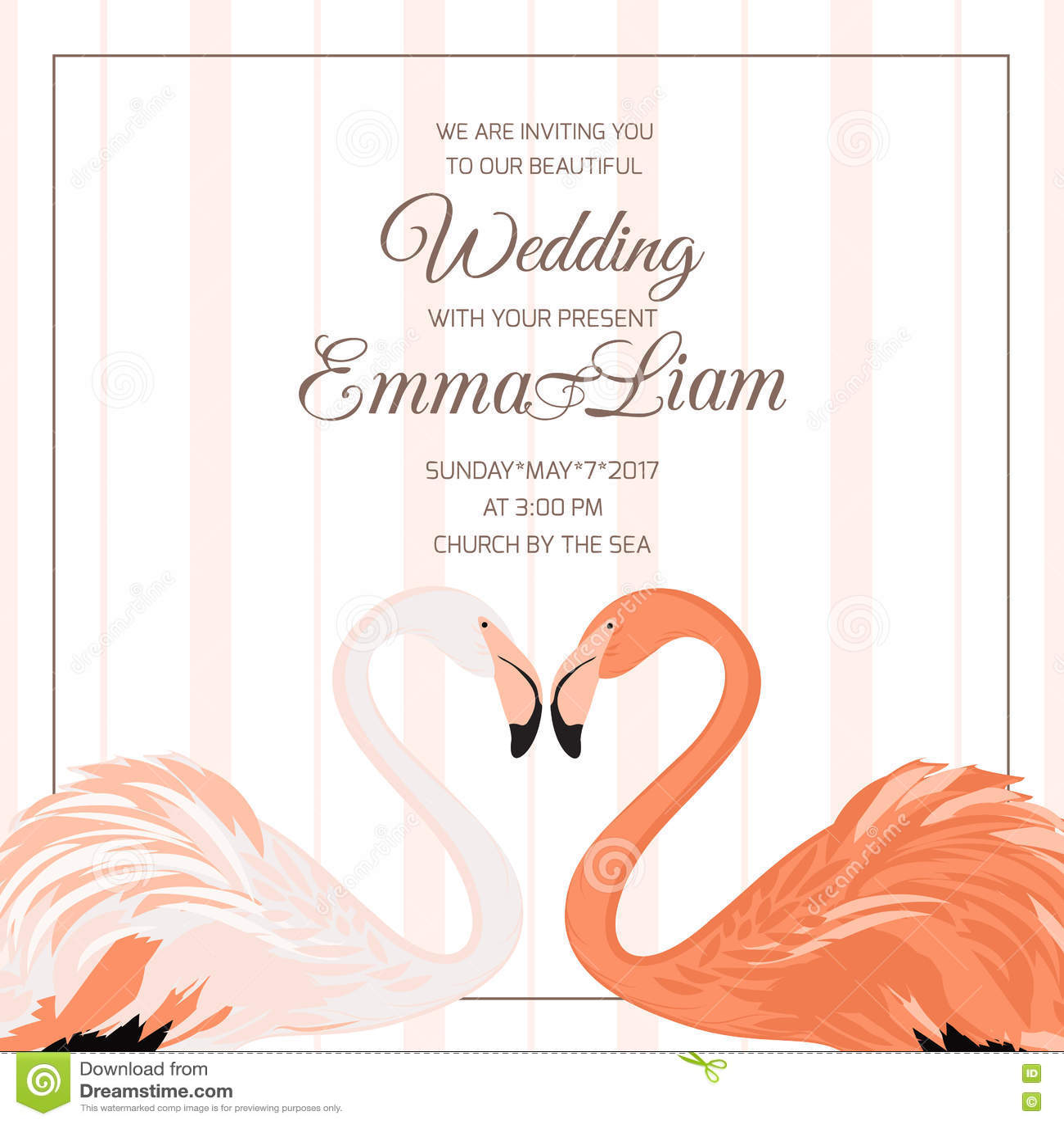 Wedding ceremony invitation flamingo couple heart stock for Flamingo beak template