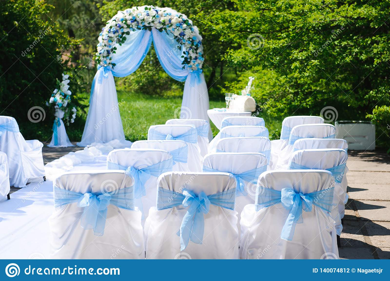 Image of: Wedding Ceremony Outdoors Wedding Ceremony Decoration Beautiful Wedding Decor Flowers Stock Photo Image Of Florida Decorations 140074812