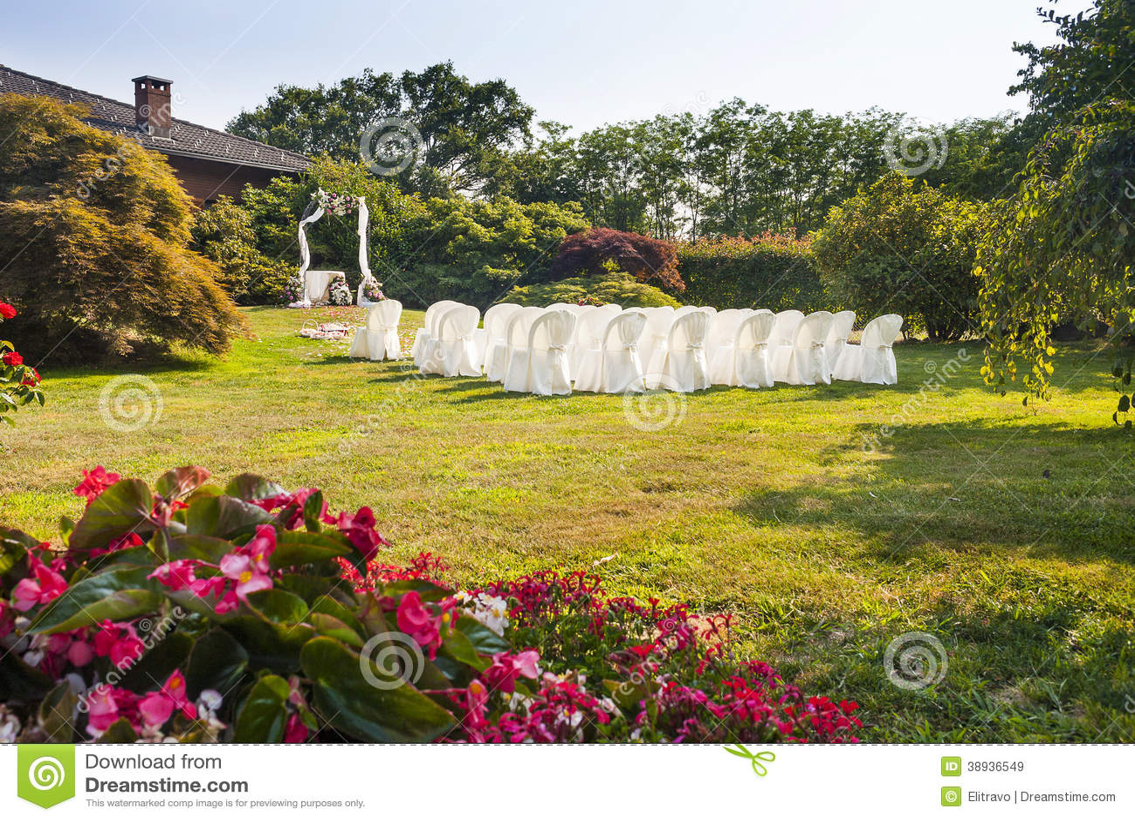 Wedding Ceremony In Sunny Garden Stock Photo Image
