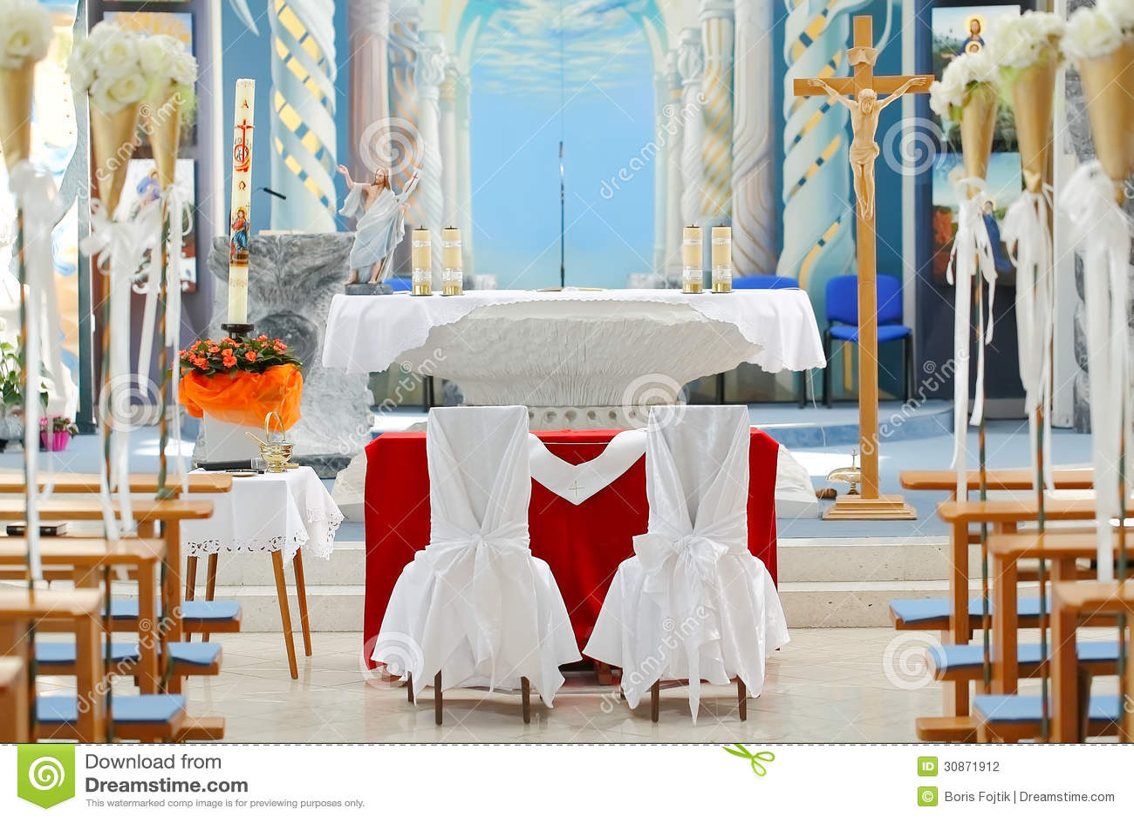 Wedding chairs in church