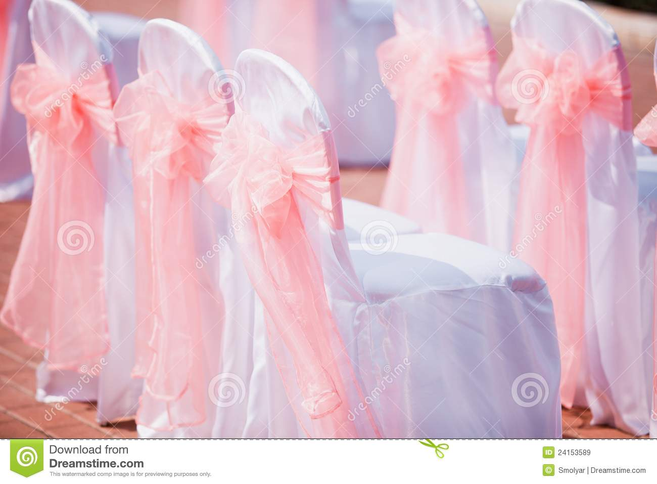 Wedding Chairs Cover With Pink Bows Stock Image - Image of pink ...