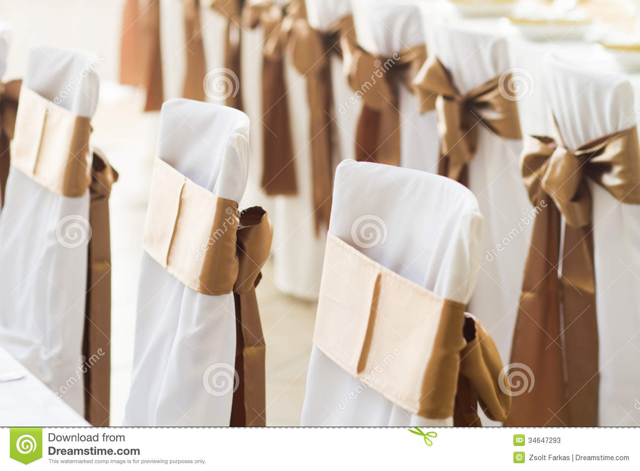 Wedding chairs with silk ribbons & Wedding Chairs With Silk Ribbons Stock Image - Image of floor ...