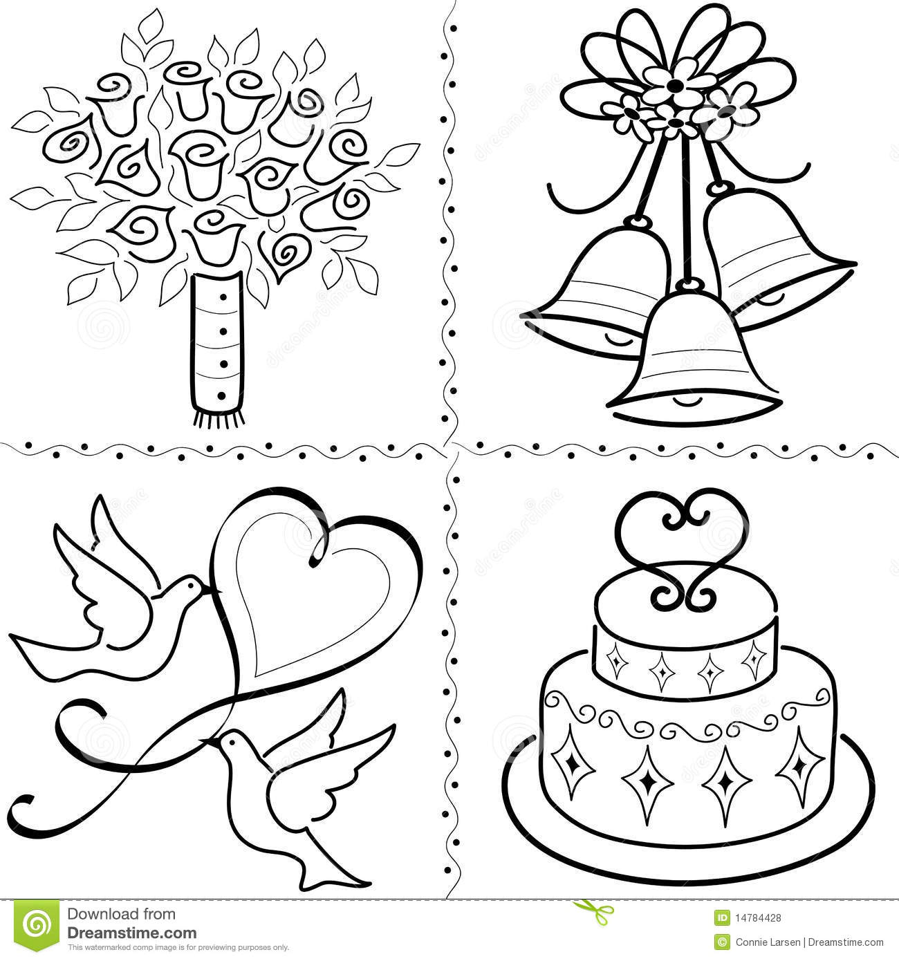 Bridal bouquet, wedding bells, doves and wedding cake.
