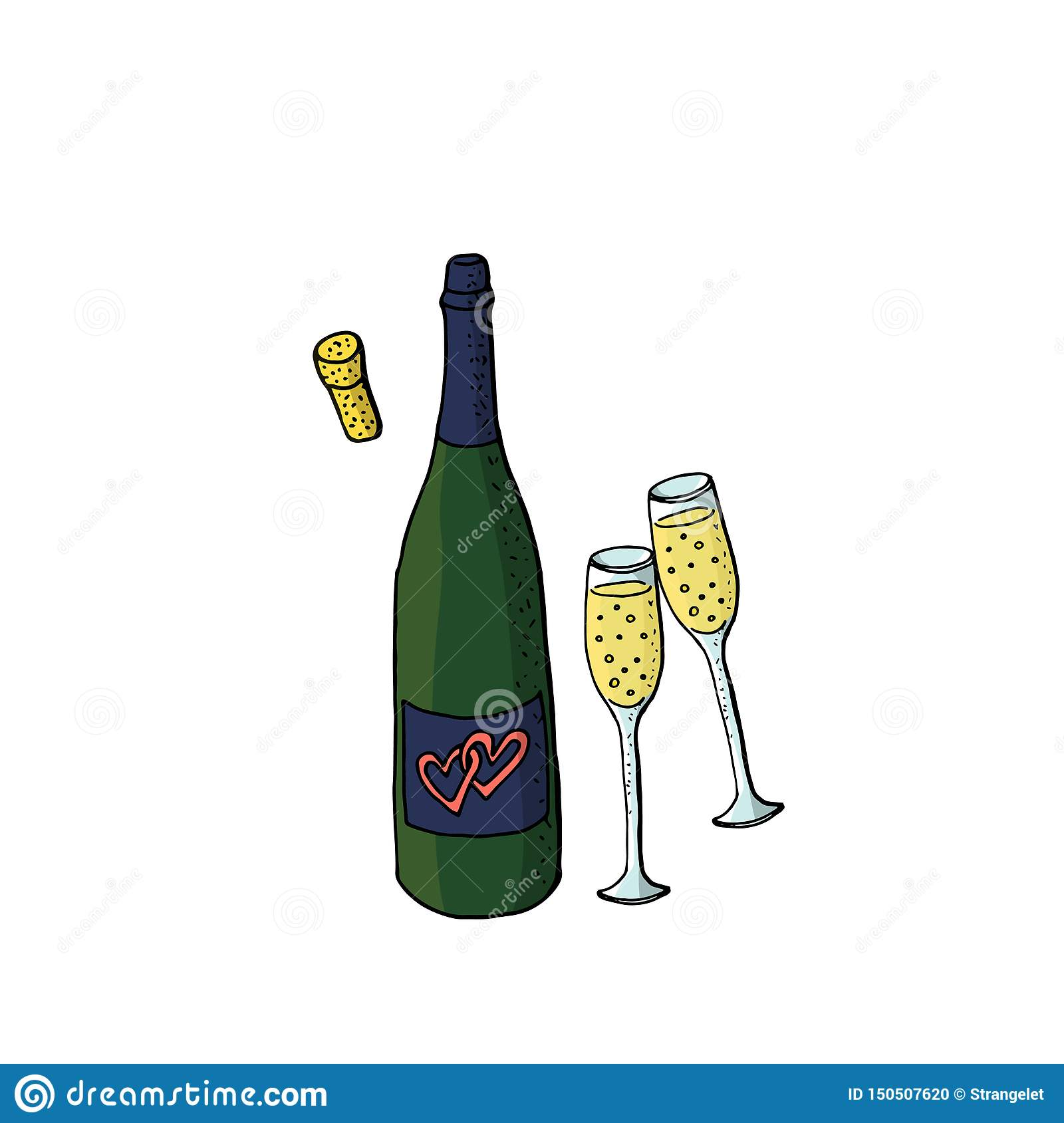 Wedding Clipart With Green Wine Bottle And Two Glasses Of Sparkling Wine Design Elements For Wedding Birthday Stock Illustration Illustration Of Outline Drawn 150507620
