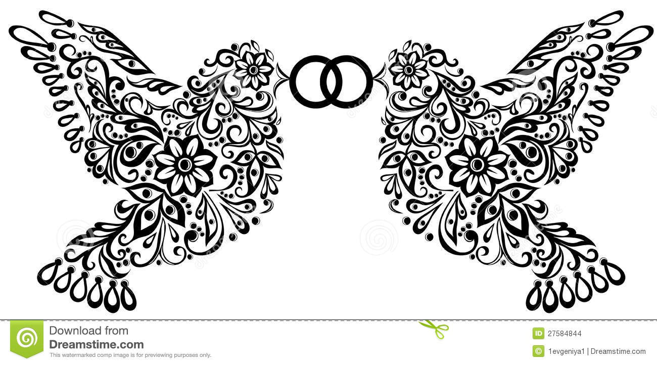 Wedding Clipart, Silhouette Of Two Birds Stock Images - Image ...