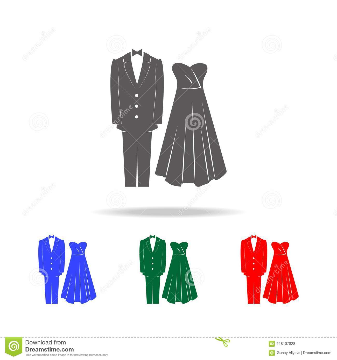 Wedding Clothes Icons  Elements Of Wedding In Multi Colored