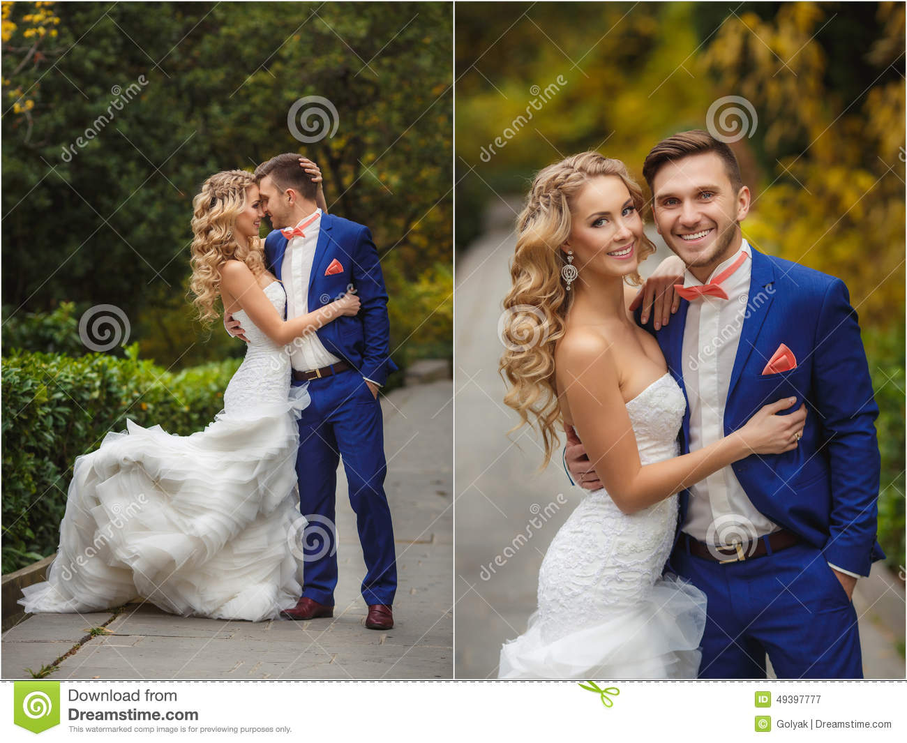 Wedding Collage - The Bride And Groom In The Park. Stock Photo - Image ...