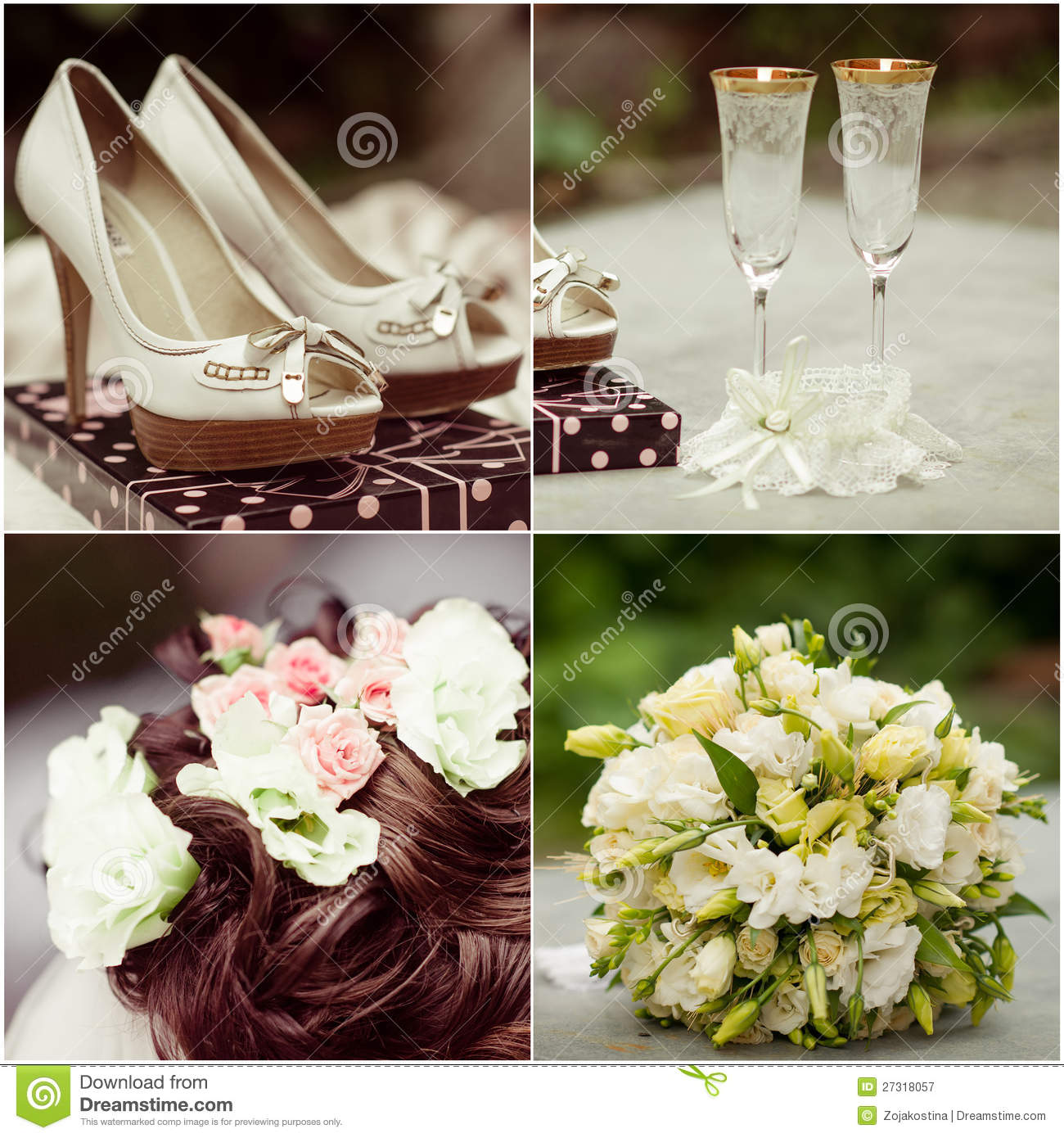 Wedding collage in white