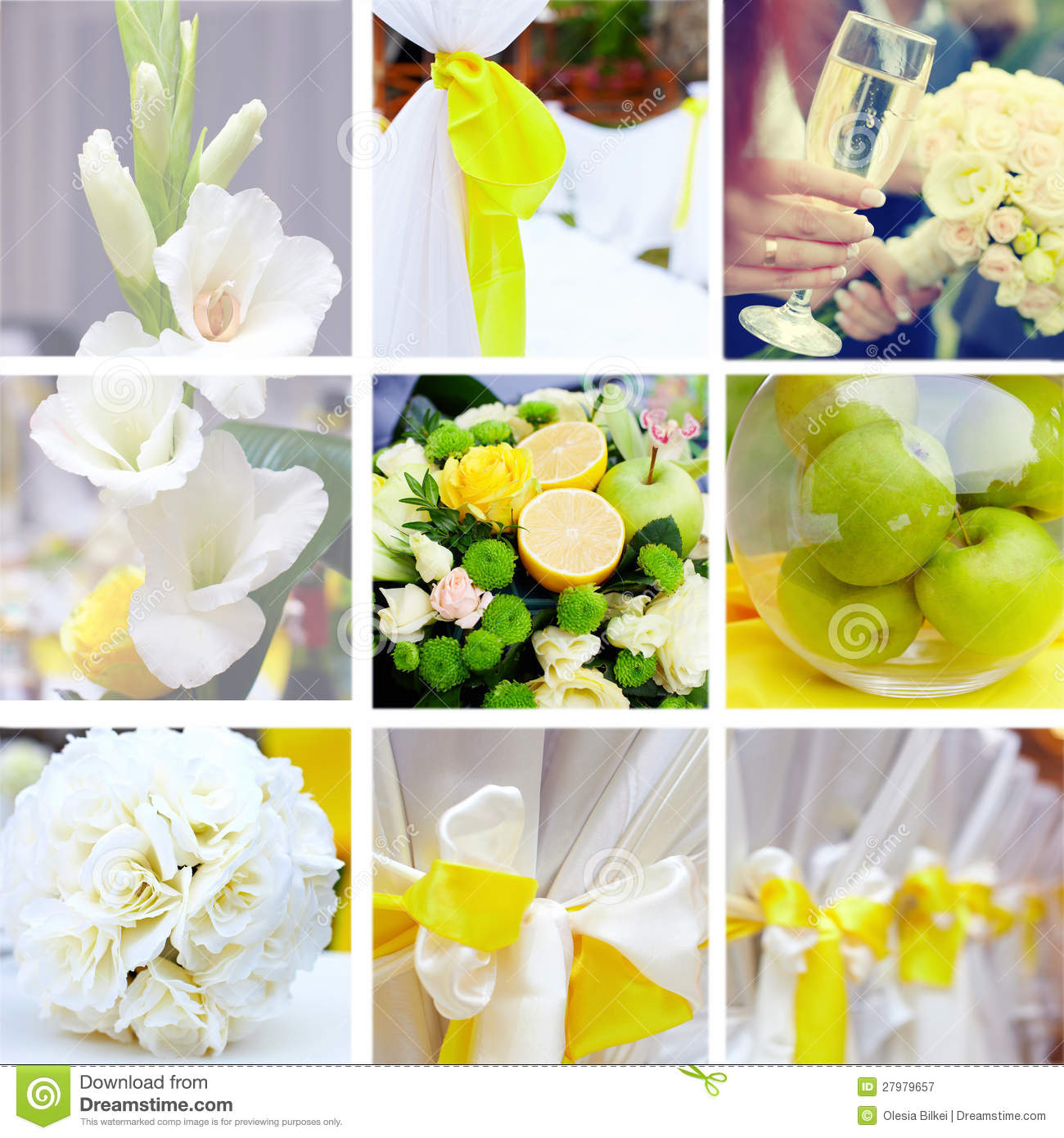wedding collage in yellow and green color theme stock image image