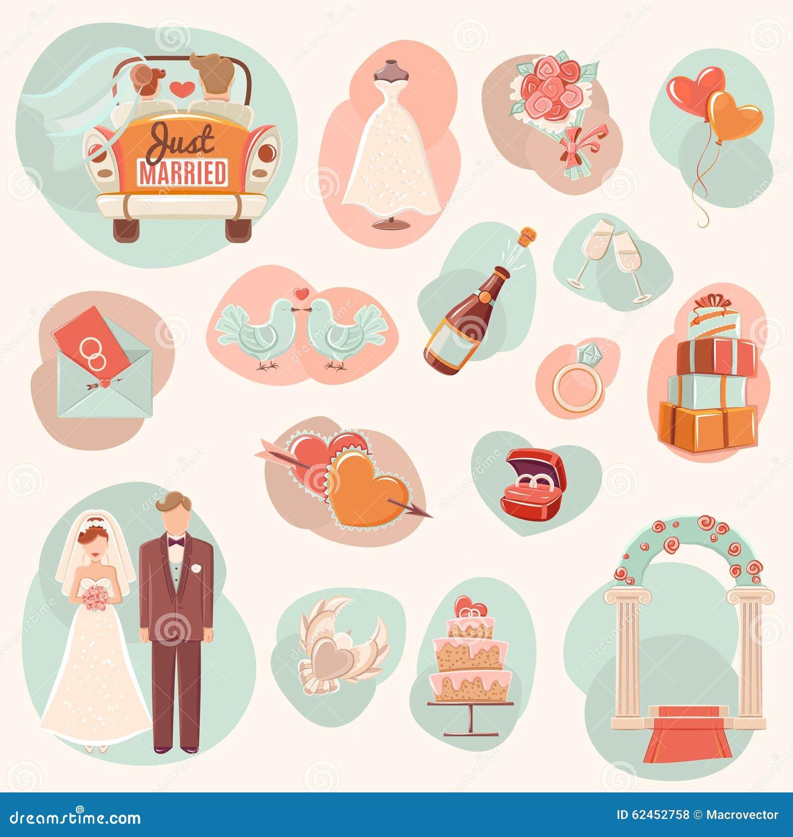 Wedding concept flat icons set
