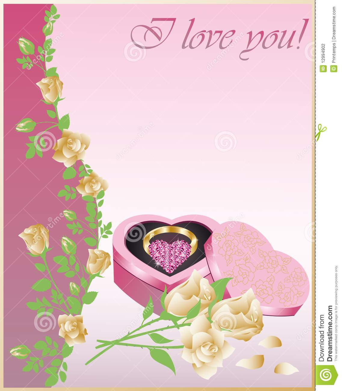Wedding Congratulatory Card With A Ring Stock Illustration