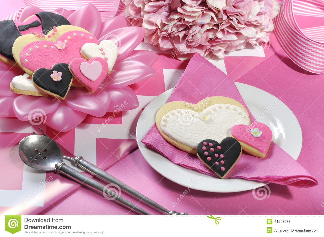 Wedding Cookies On Pink Bridal Table Stock Image - Image of favor ...