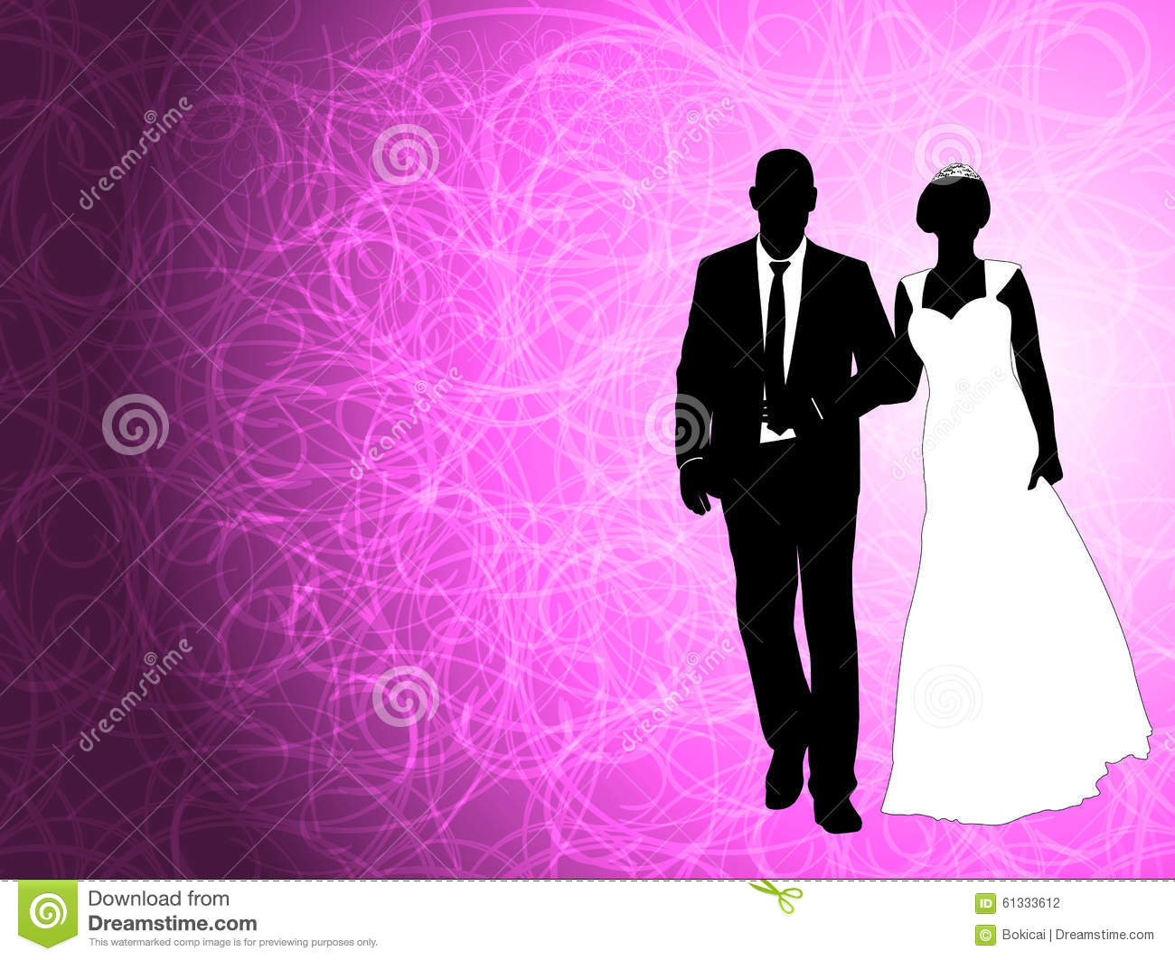 wedding couple on the abstract purple background stock