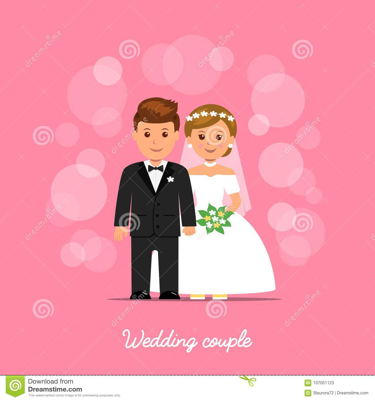 Wedding Couple. Bride And Groom On Pink Background With Bokeh. Stock ...