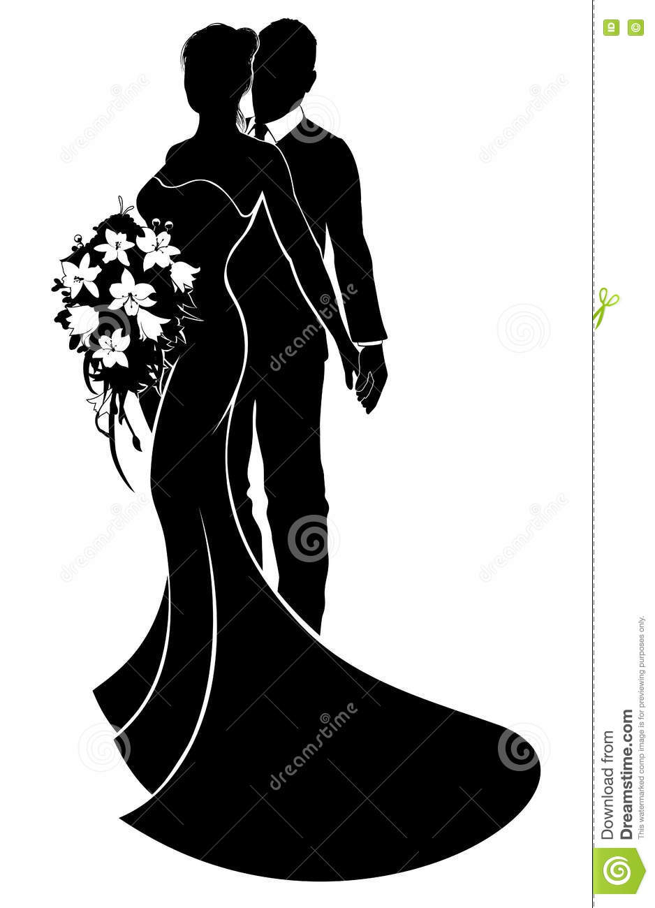 Wedding Couple Bride Groom Silhouette Stock Illustrations 2579 Vectors Clipart