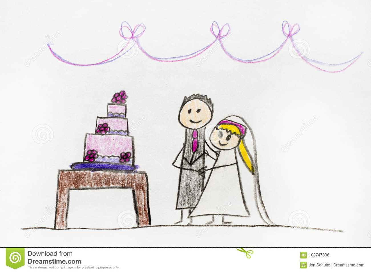 A kids drawing of a wedding cake and couple getting married