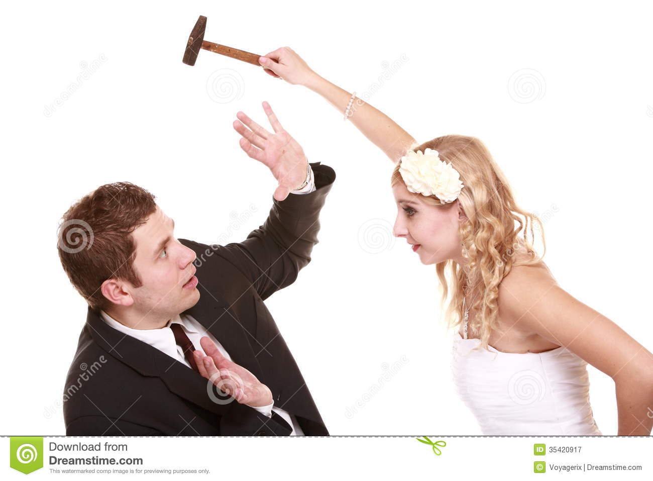 Wedding Couple In Fight, Conflict Bad Relationships Royalty Free Stock ...