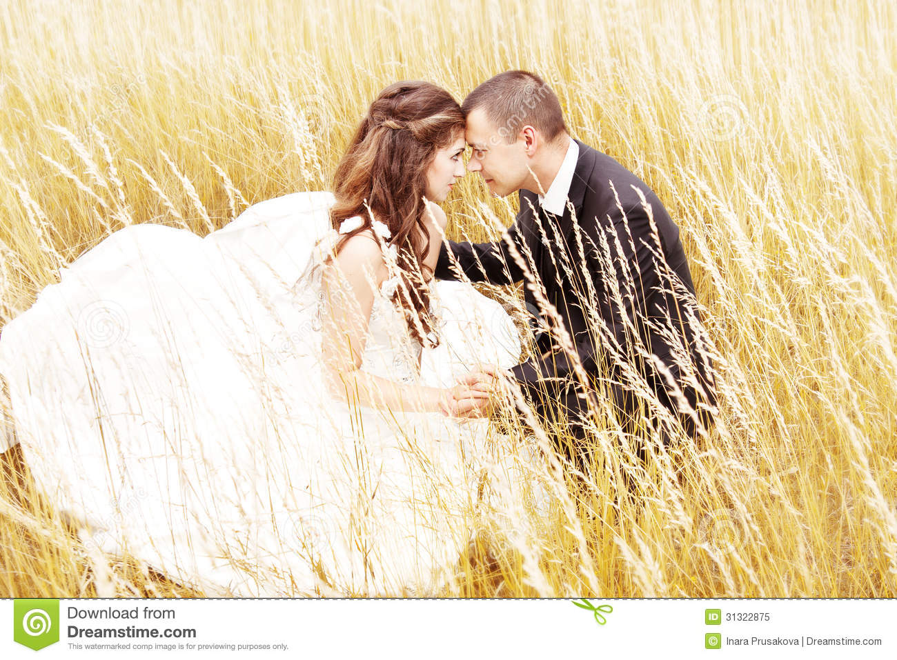 Wedding couple in grass. Bride and groom outdoors