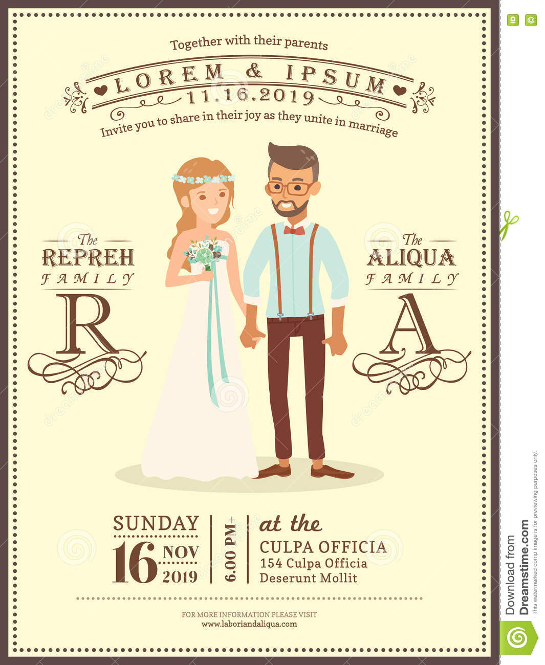 Wedding Couple Groom And Bride Cartoon Wedding Invitation Card Stock Vector - Image: 72479478