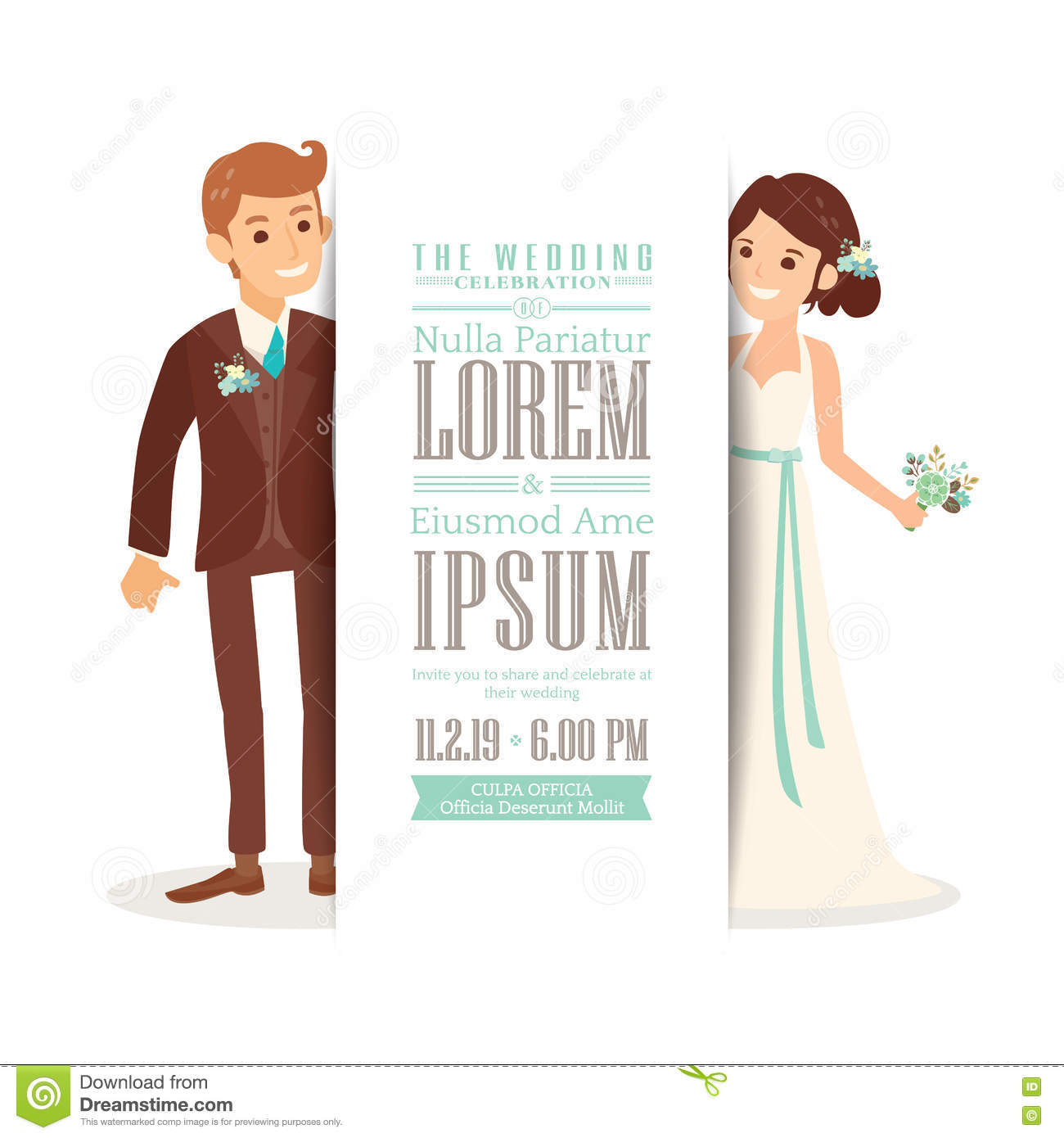 Wedding Couple Groom And Bride On White Background Wedding