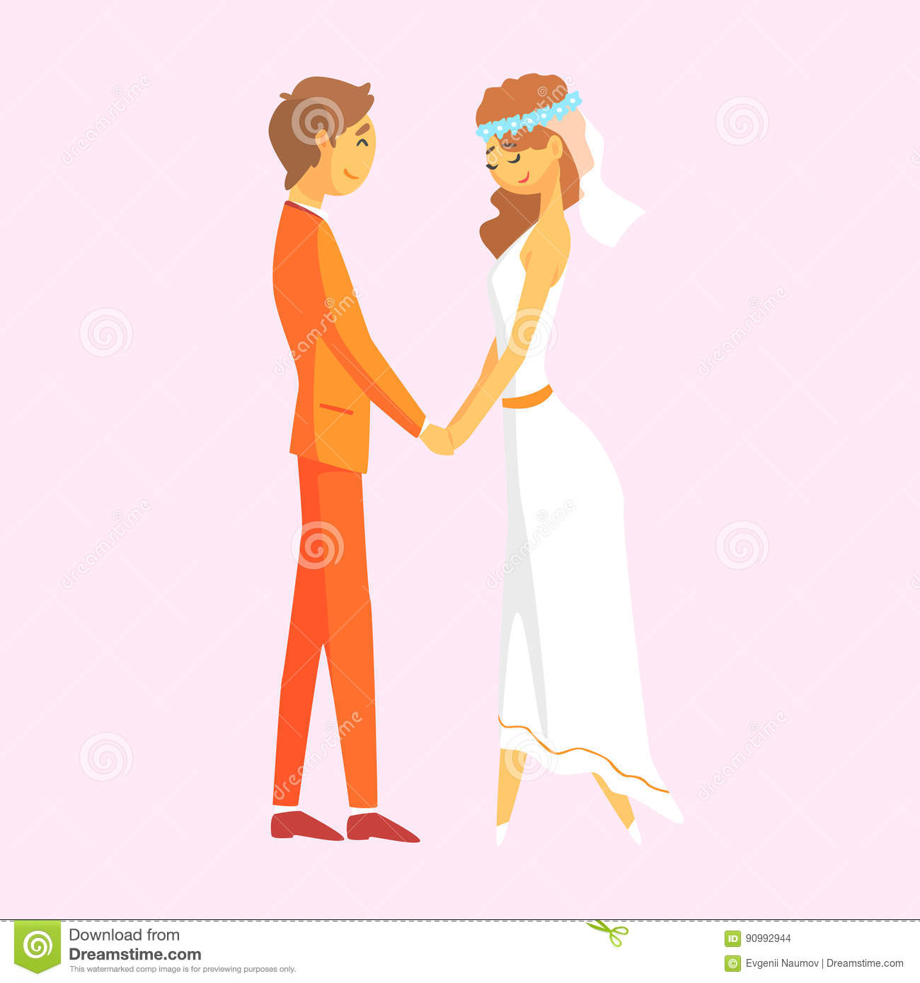 Cartoon Characters Holding Hands : Wedding couple holding hands romantic colorful