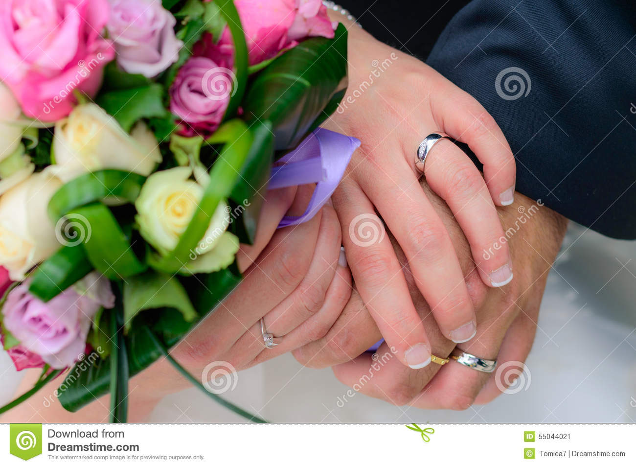 Wedding Couple Holding Hands With Their Rings Stock Photo 55044021 ...