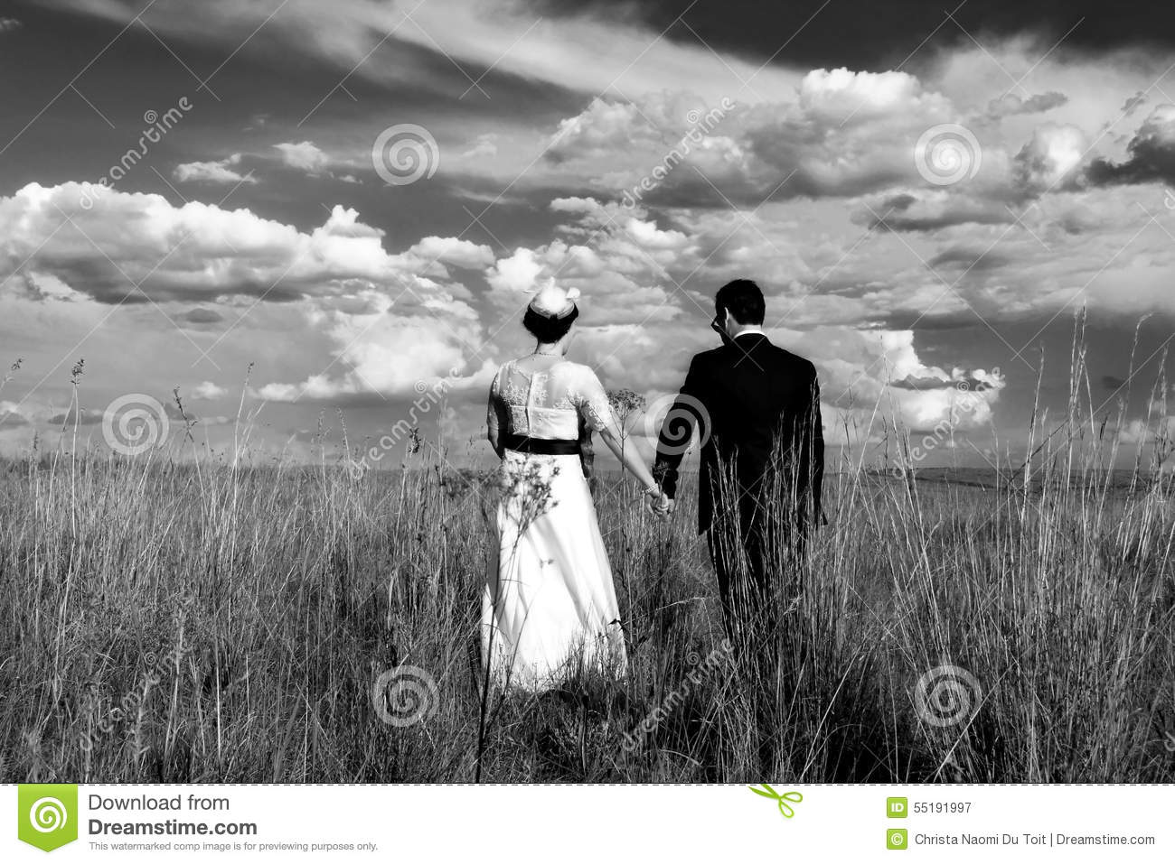 Wedding Couple Holding Hands While Walking Stock Image ...