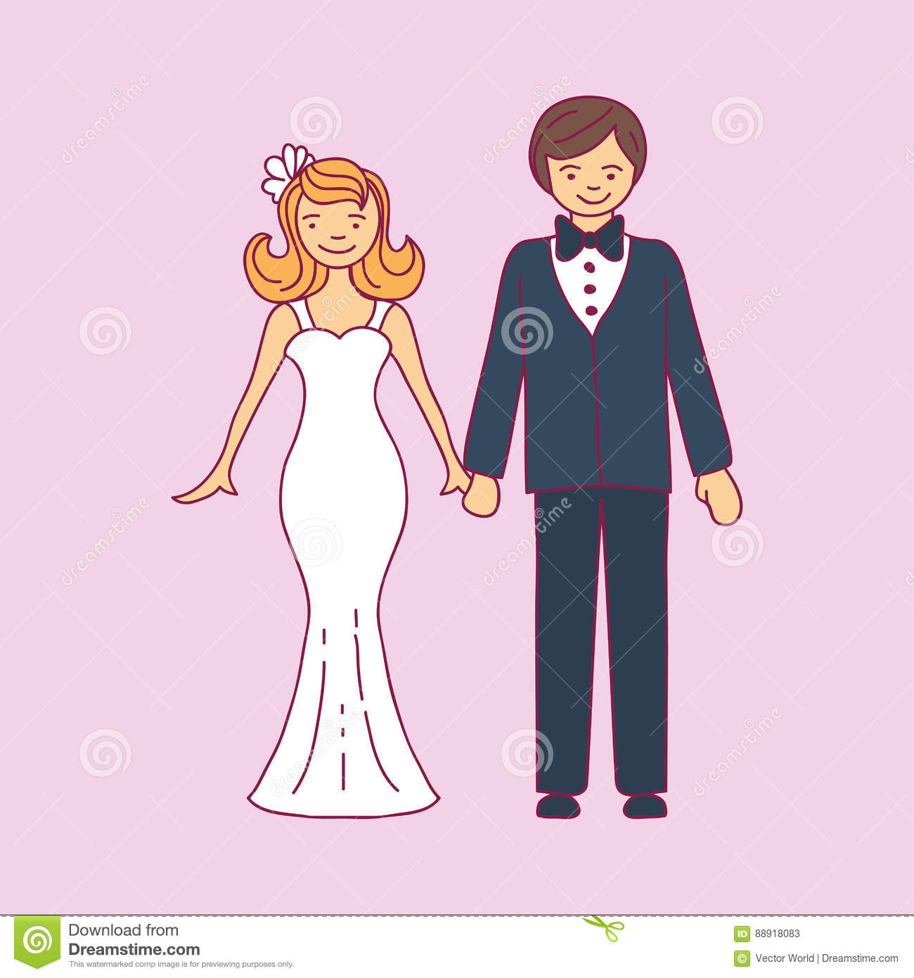 Wedding Couple Character: The Happy Bride And Groom Vector ...