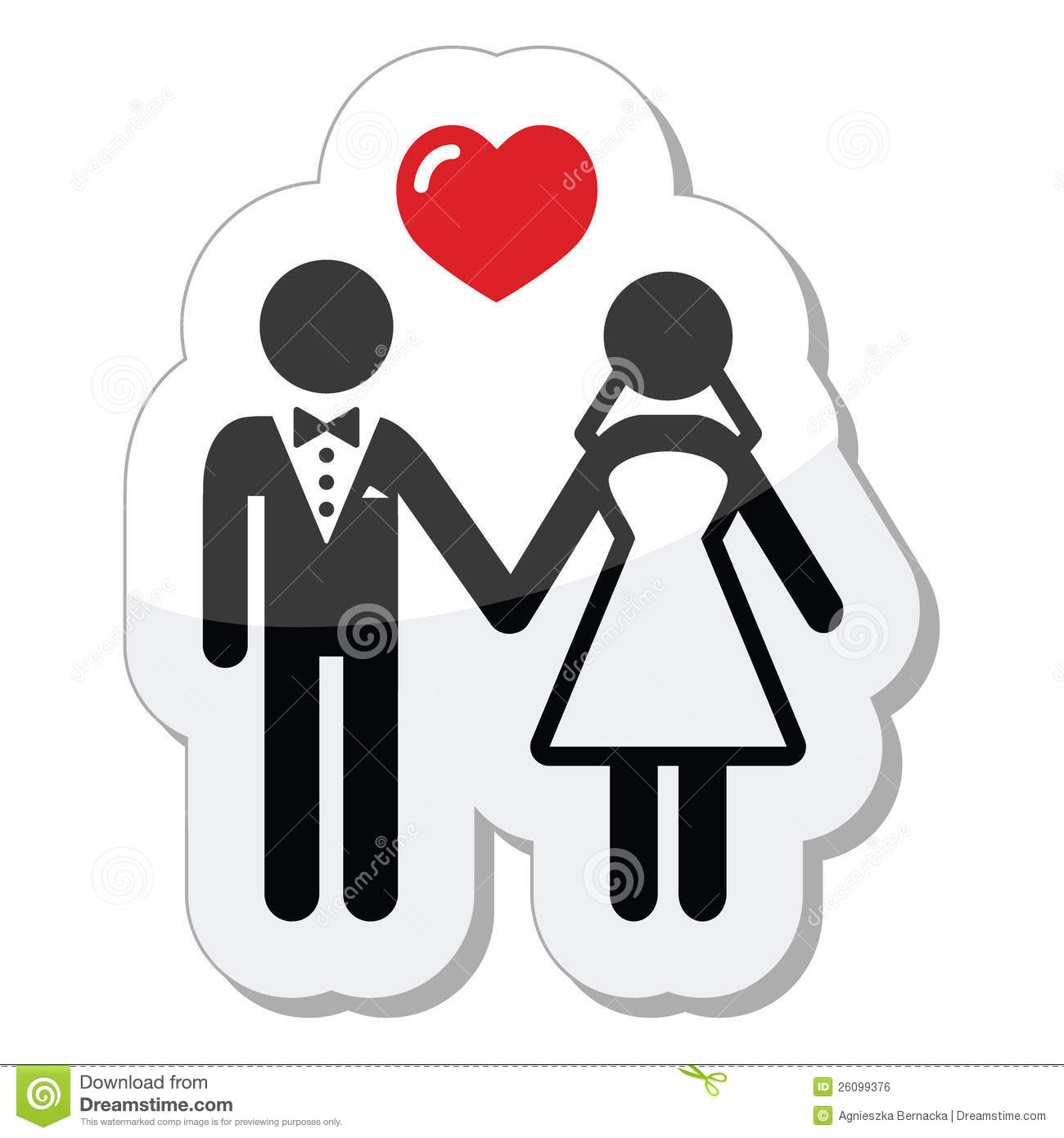 Wedding Couple Icon As Glossy Label Royalty Free Stock Image - Image ...