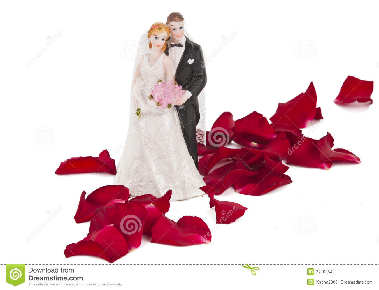 A wedding couple made of plastic