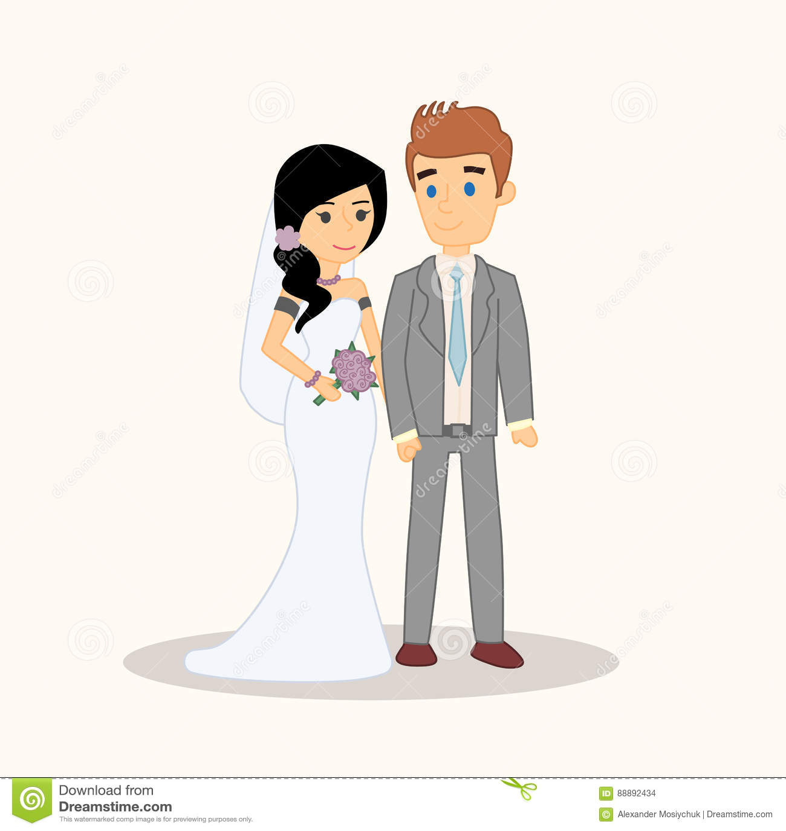 Wedding couple cartoon characters bride and groom vector wedding couple people characters isolated vector bride and groom vector illustration for invitation greeting kristyandbryce Gallery