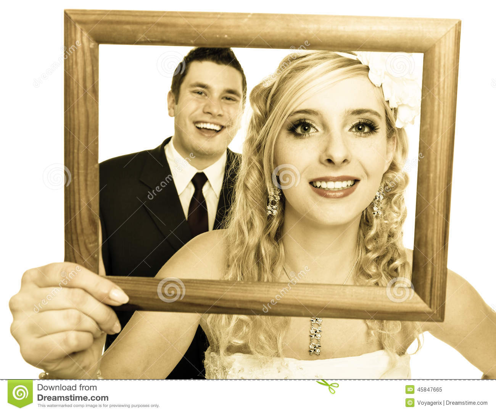 Wedding Couple. Portrait Of Happy Bride And Groom Stock