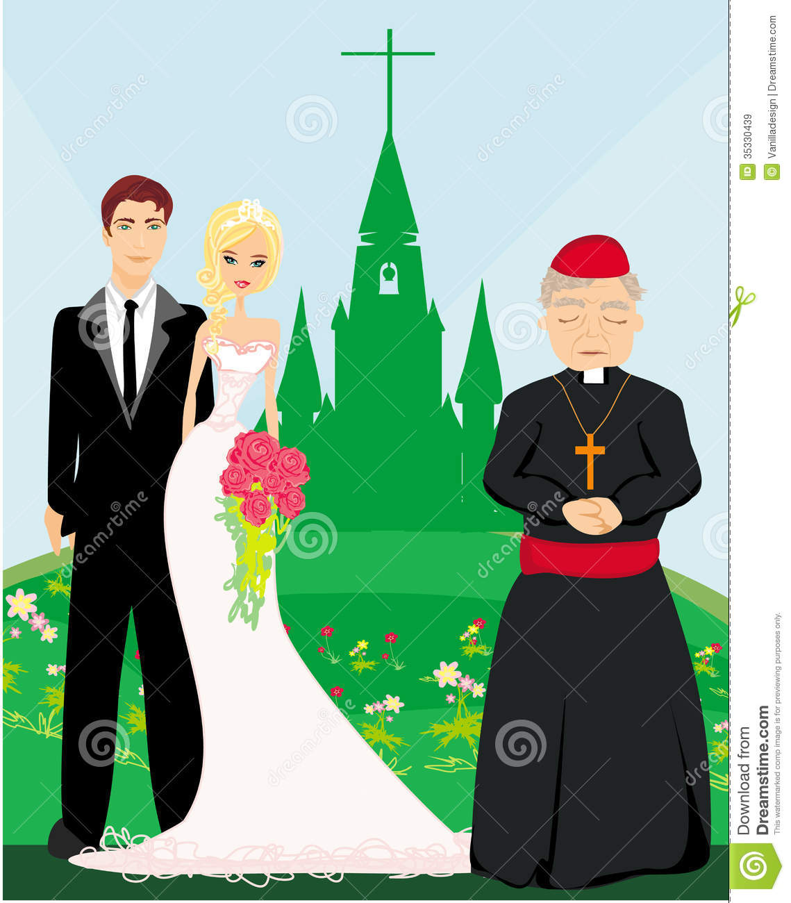 Wedding Couple And The Priest In Front Of A Church Royalty Free Stock ...