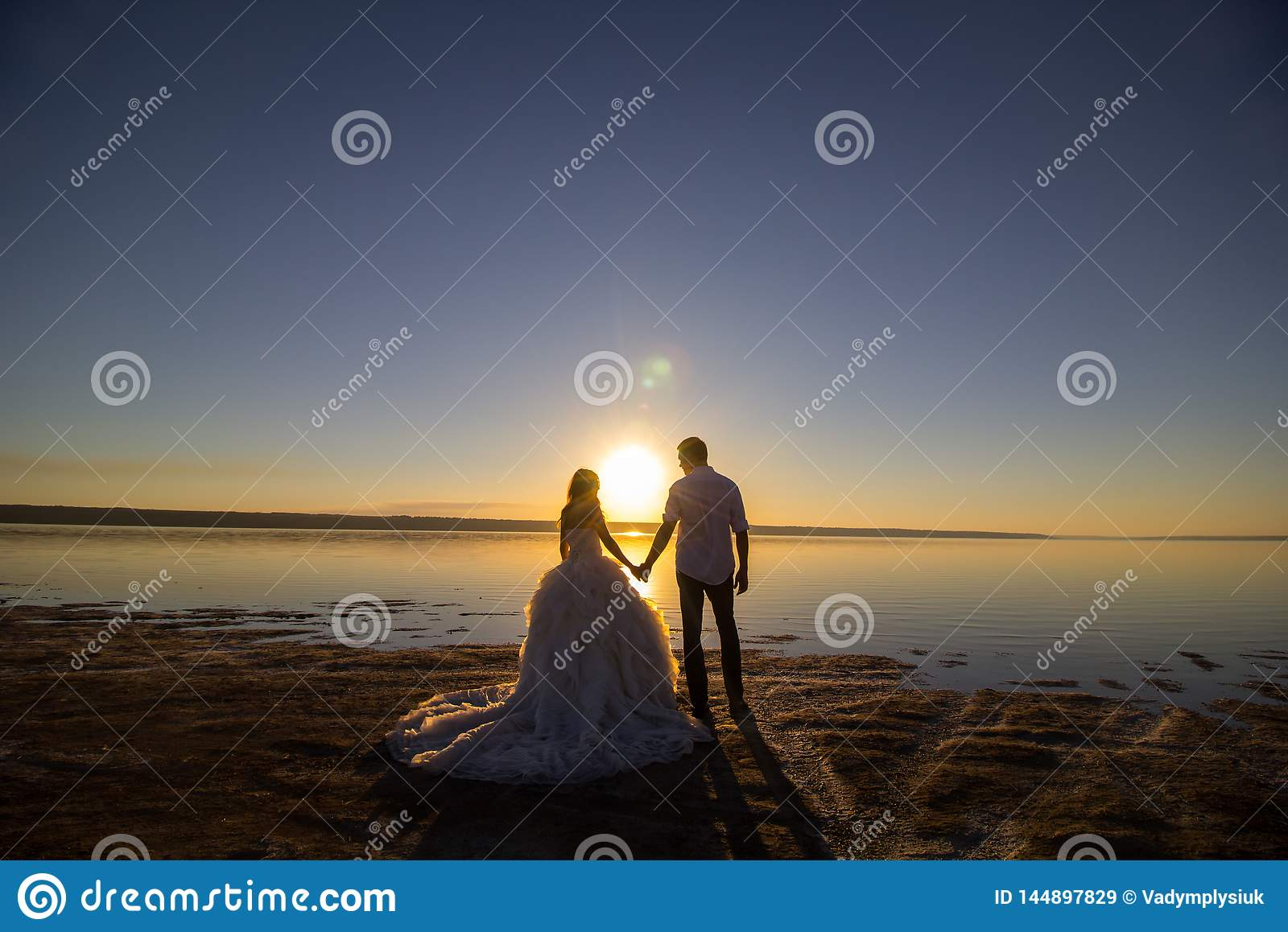 fa973be896 Wedding couple on the sea beach watching sunset. Sunny summer photo. Bride  with hair down in off shoulder dress with train. Ocean romantic ceremony.