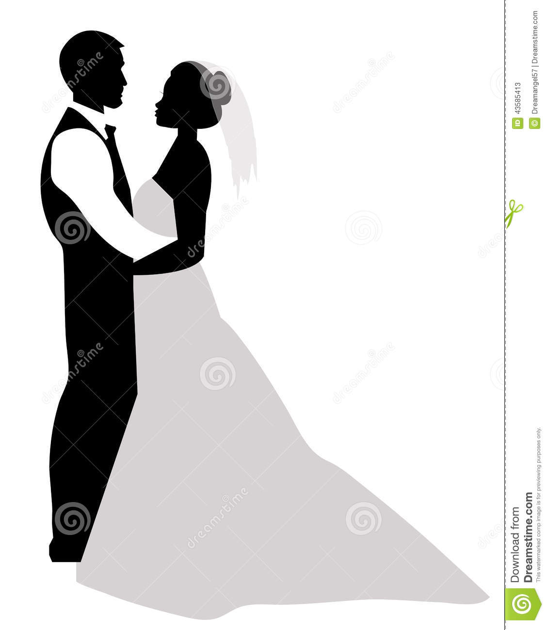 Wedding Couple Silhouette Stock Vector - Image: 43585413