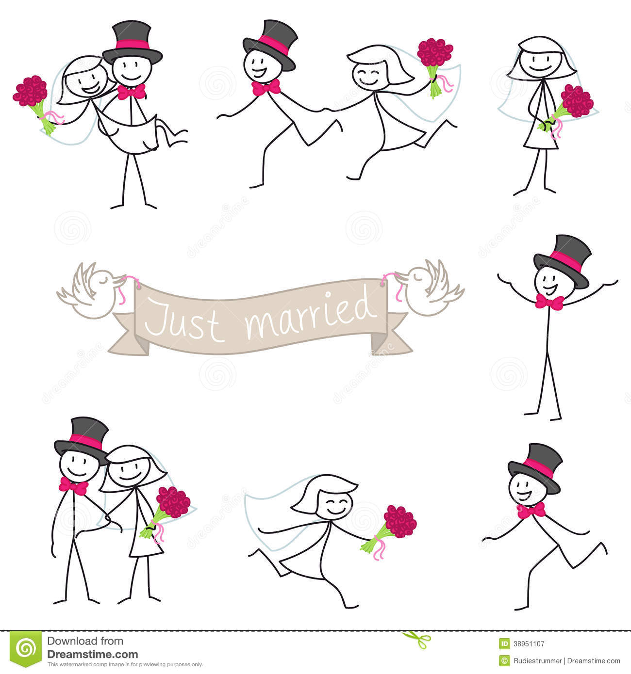 Wedding Couple Stickman Bride And Groom Stock Vector