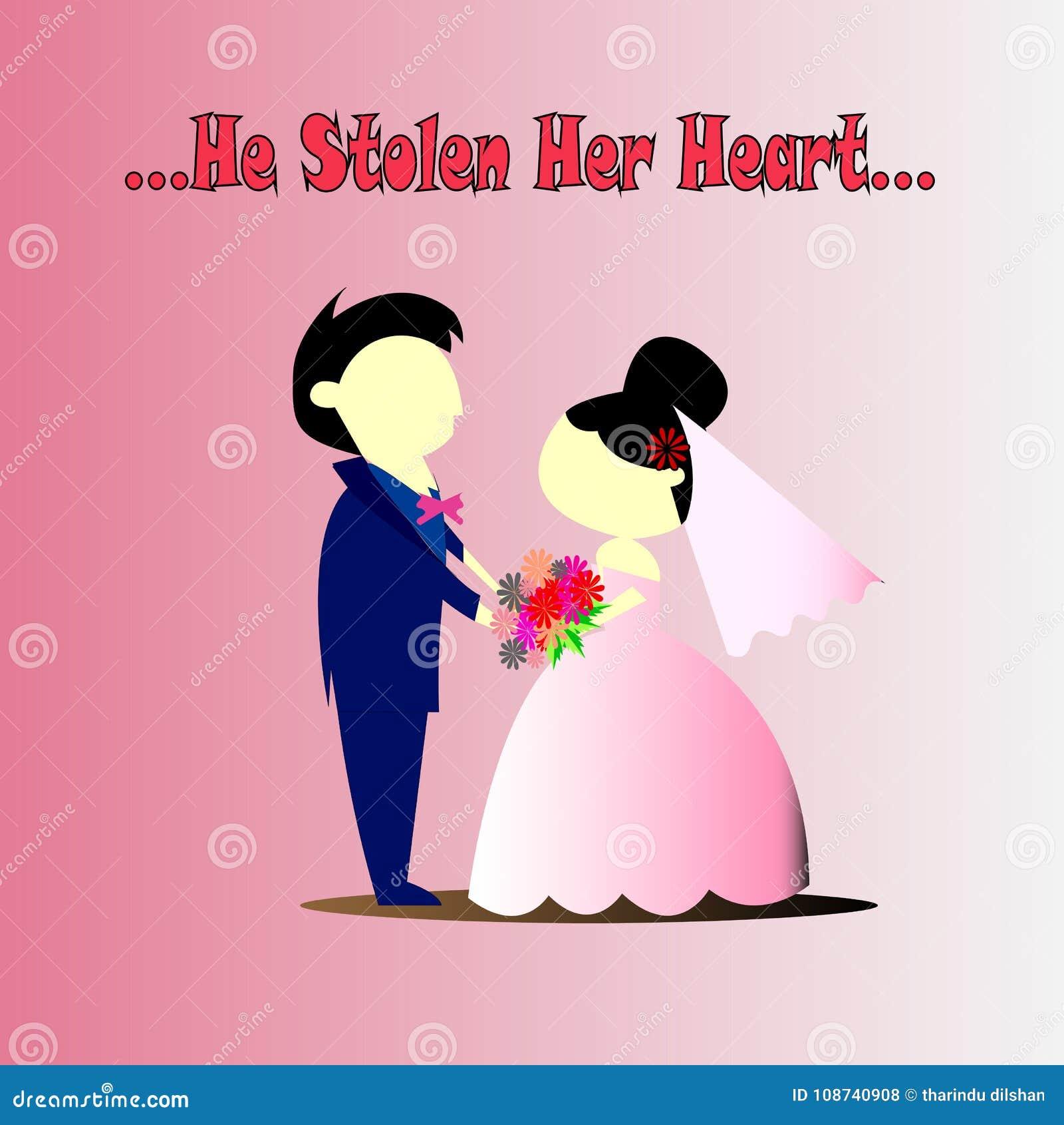 Wedding Couple He Stolen Her Heart Stock Illustration - Illustration ...