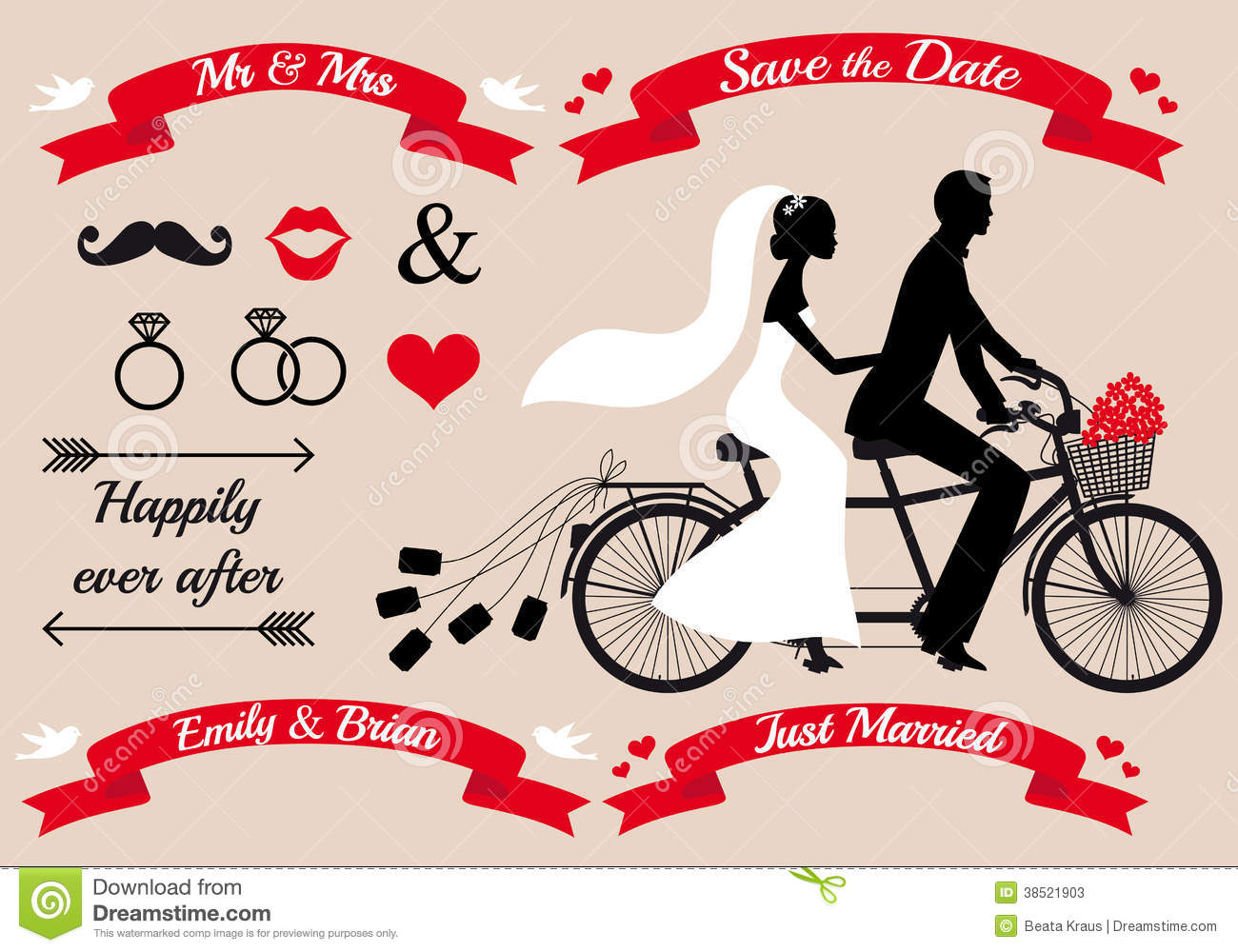 wedding set bride and groom on tandem bicycle graphic design elements ...