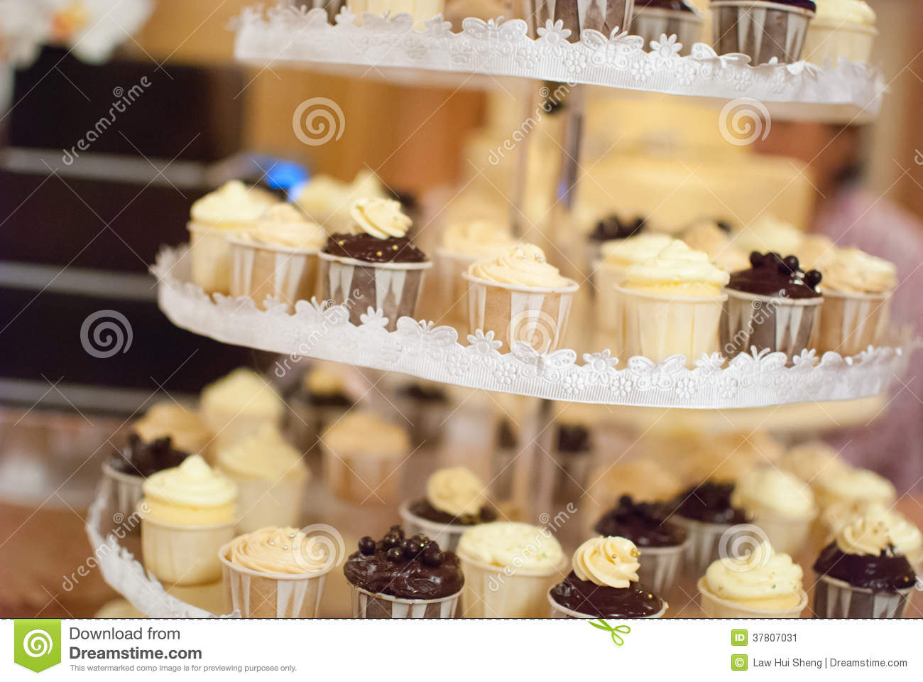 Wedding Cup Cakes On A Multi Level Tray Stock Image Image 37807031